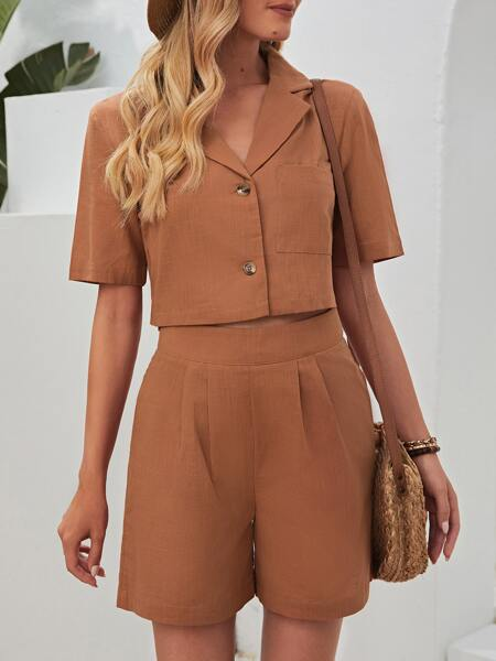 Solid Button Front Crop Top With Shorts