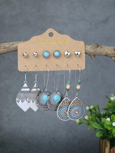 6pairs Heart Decor Earrings