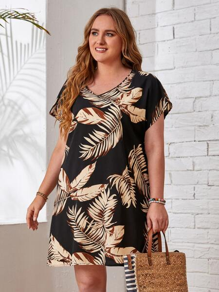 Plus Batwing Sleeve Tropical Print Dress