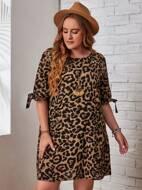 Plus Knot Cuff Leopard Dress