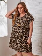 Plus Batwing Sleeve Leopard Dress