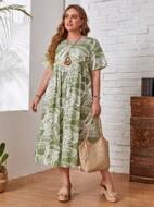 Plus Leaves Print Smock Dress