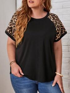 Plus Leopard Raglan Sleeve Top
