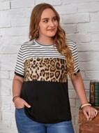 Plus Leopard & Striped Colorblock Tee