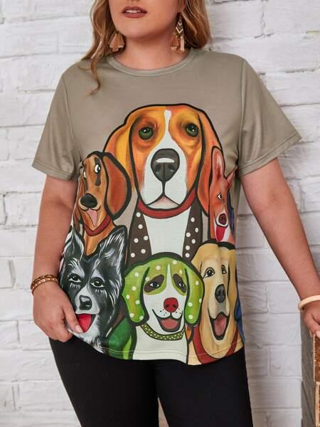 Plus Cartoon Dog Print Tee