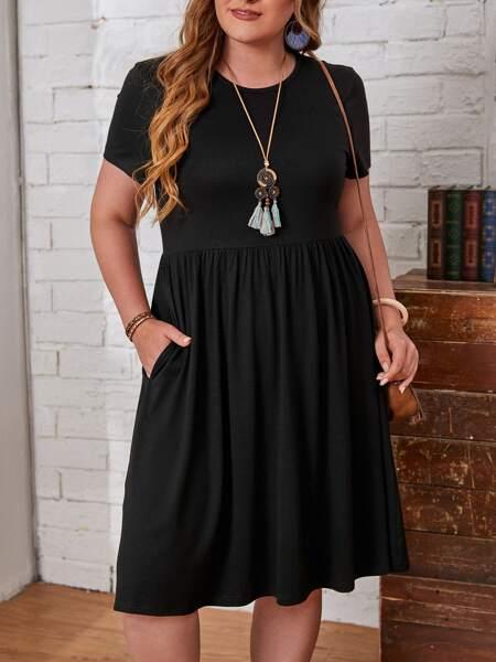 Plus Slant Pocket Flare Hem Solid Dress