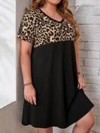 Plus V-neck Leopard Colorblock Dress