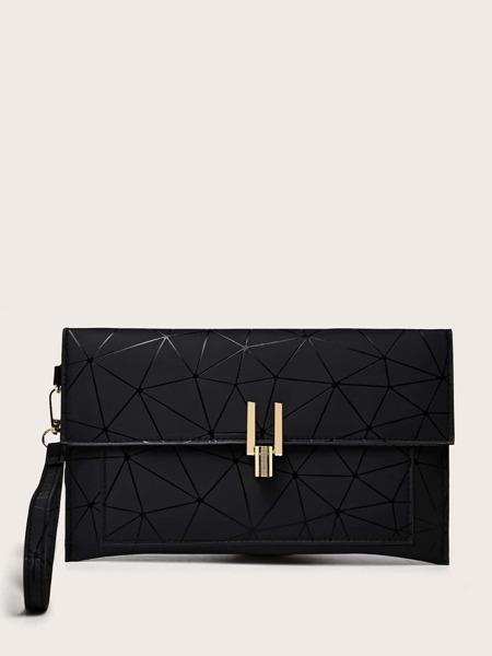 Geometric Print Flap Clutch Bag