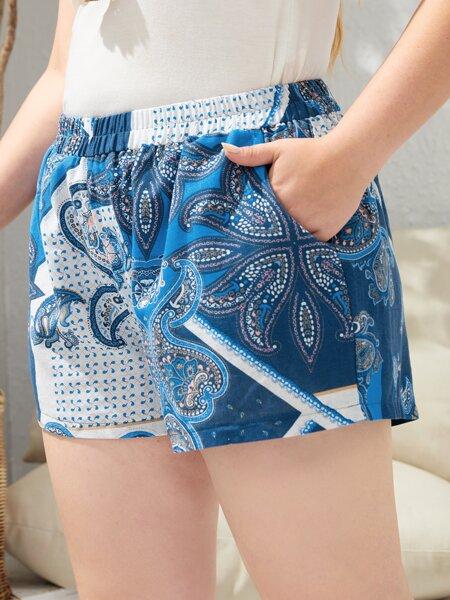 Plus Paisley Print Slant Pocket Shorts