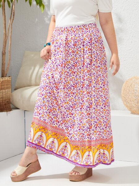 Plus Ditsy Floral Skirt