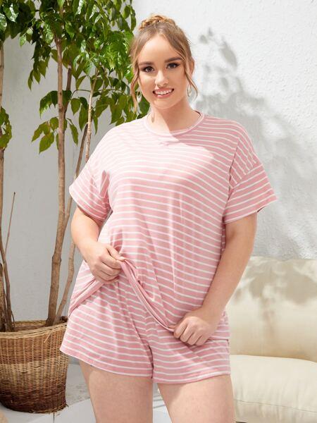 Plus Striped Print Tee & Shorts