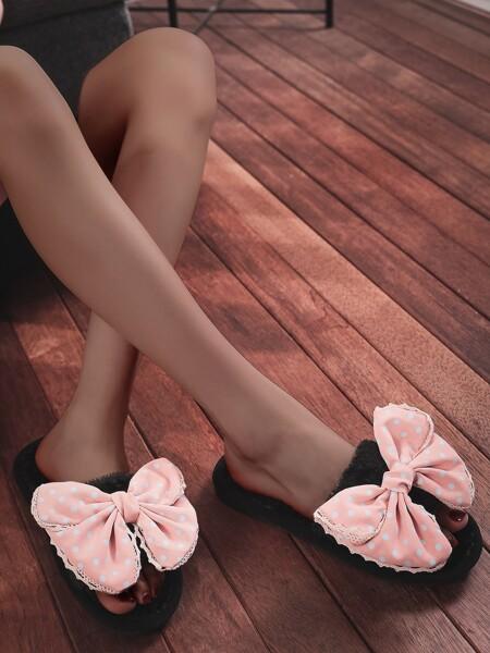 Bow Decor Polka Dot Fluffy Slippers