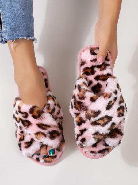 Leopard Cross Strap Fluffy Slippers