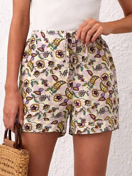 Floral Print Knot Waist Shorts