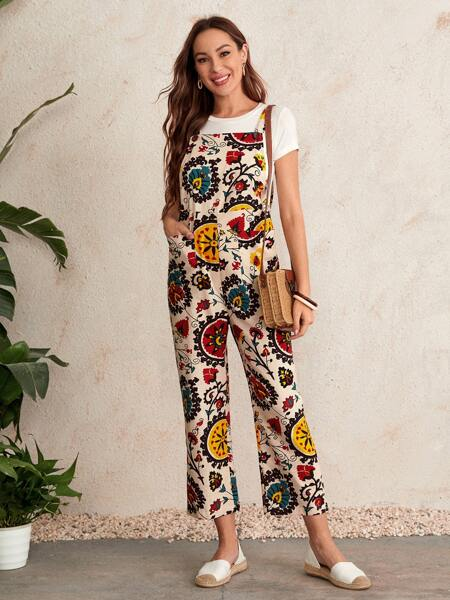 Patch Pocket Floral Print Overall Cropped Jumpsuit