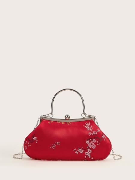 Floral Embroidered Clip Top Clutch Bag