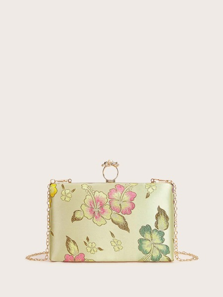 Floral Embroidered Box Bag