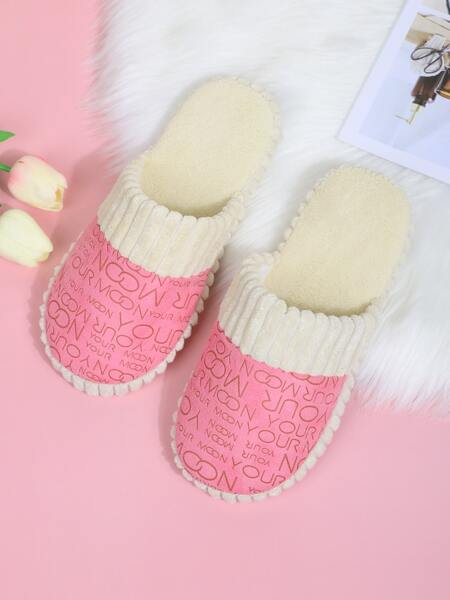 Letter Graphic Bedroom Slippers