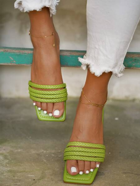 Minimalist Braided Strap Slide Sandals