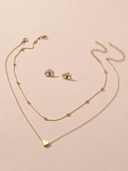 2pcs Heart Decor Necklace & 1pair Earrings