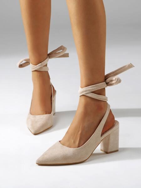 Minimalist Point Toe Tie Leg Pumps