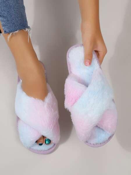 Tie Dye Fluffy Slippers