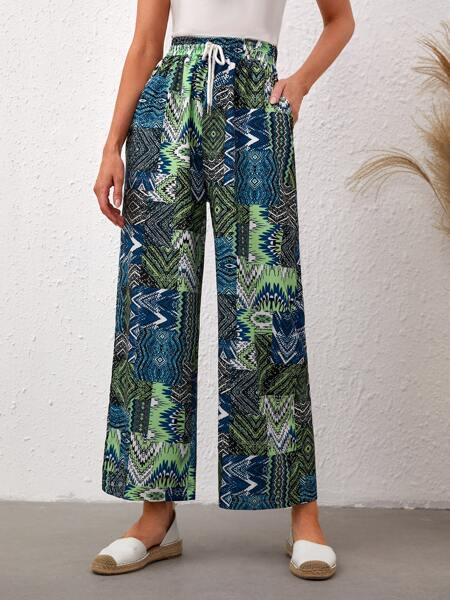 Geo Print Drawstring Waist Wide Leg Shorts
