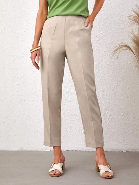 Solid Elastic Waist Pants