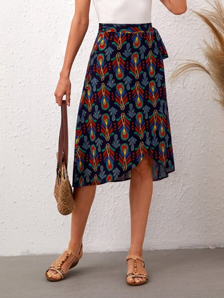 All Over Print Knot Side Wrap Skirt