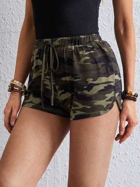 Camo Print Track Shorts
