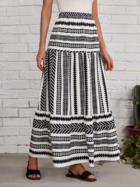 Graphic Print Ruffle Hem Skirt