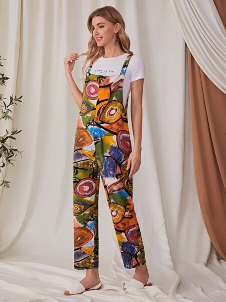 Graphic Print Overall Jumpsuit