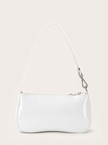 Faux Patent Leather Baguette Bag