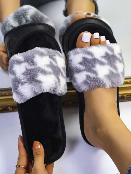 Houndstooth Graphic Fluffy Bedroom Slippers