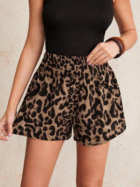 Shirred Waist Leopard Shorts