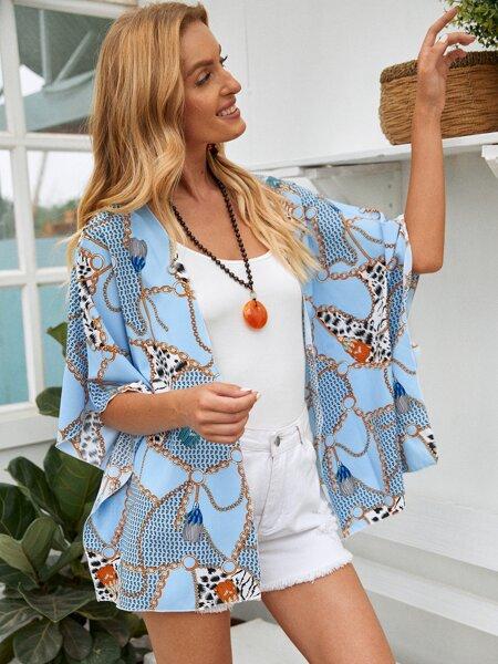 Chain Print Kimono