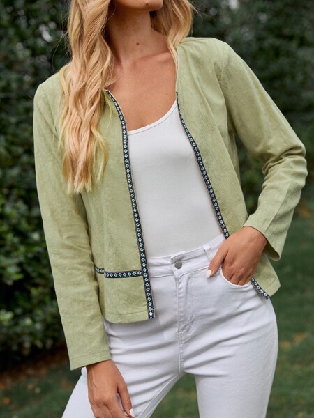 Embroidered Open Front Jacket