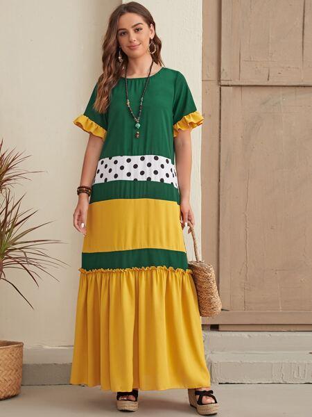 Colorblock Polka Dot Flounce Sleeve Maxi Smock Dress