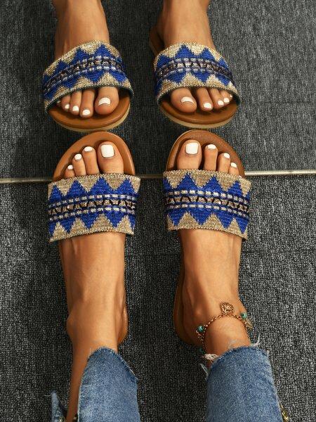 Color Block Slide Sandals