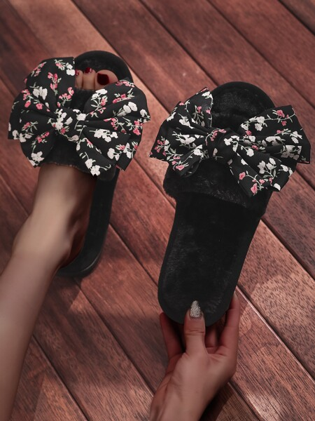 Floral Bow Decor Fluffy Slippers