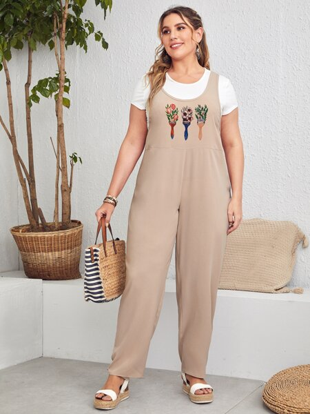 Plus Floral Print Jumpsuit Without Tee