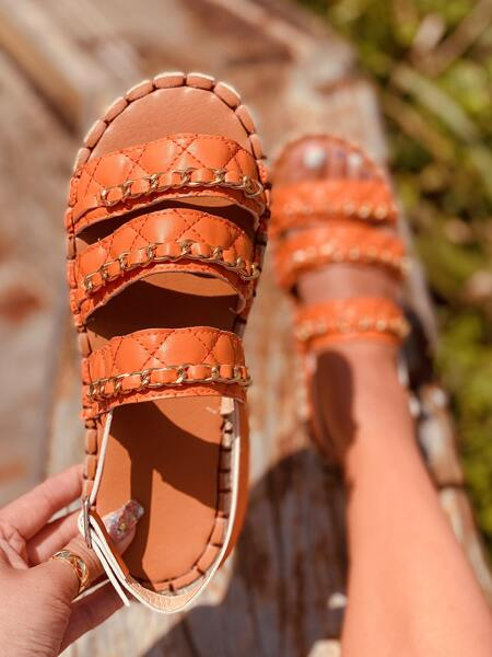 Chain Decor Quilted Slingback Sandals