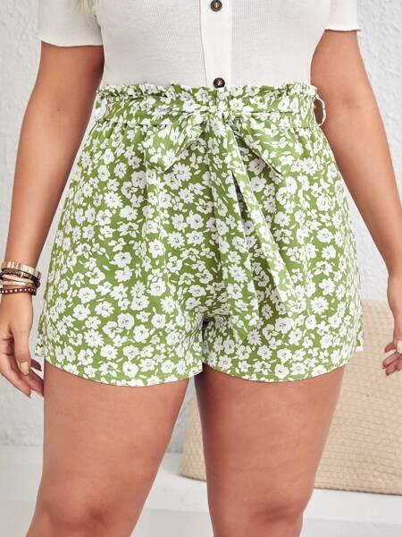 Plus Floral Belted Paper Bag Waist Shorts