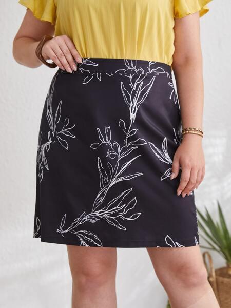 Plus Plants Print High Waist Skirt