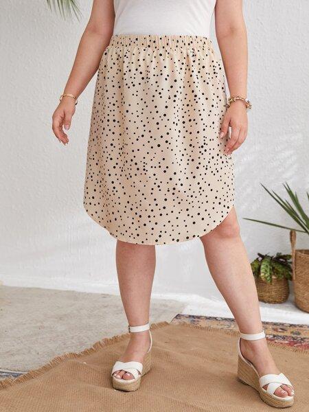 Plus Polka Dot Curved Hem Skirt