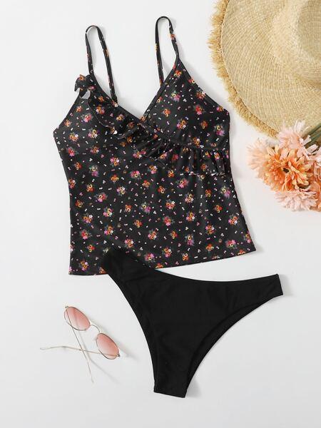 Floral Print Ruffle Bikini Swimsuit