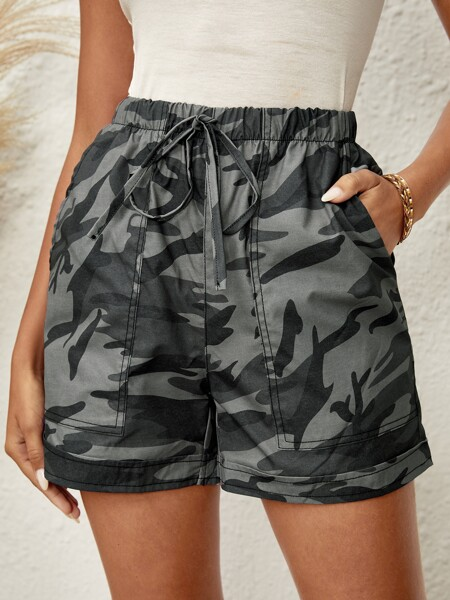 Camo Knot Front Shorts