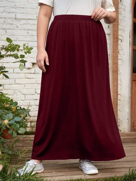Plus Solid Elastic Waist Maxi Skirt