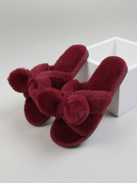 Bow Decor Fluffy Bedroom Slippers