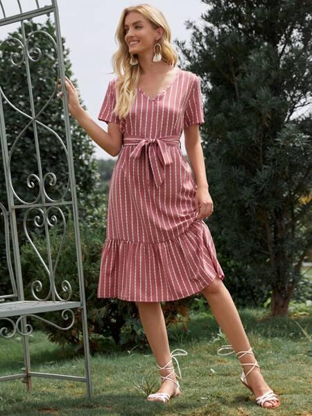 Striped V-neck Ruffle Hem Belted Dress